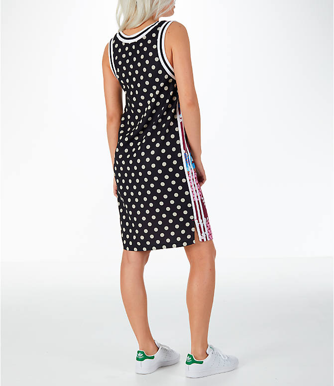 Back Right view of Women's adidas Originals Tank Dress in Multicolor