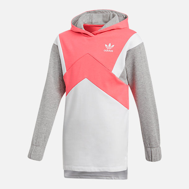 Front view of Girls' adidas Originals Trefoil Long-Sleeve Hoodie in Pink/Grey
