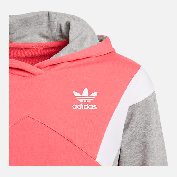 Back view of Girls' adidas Originals Trefoil Long-Sleeve Hoodie in Pink/Grey