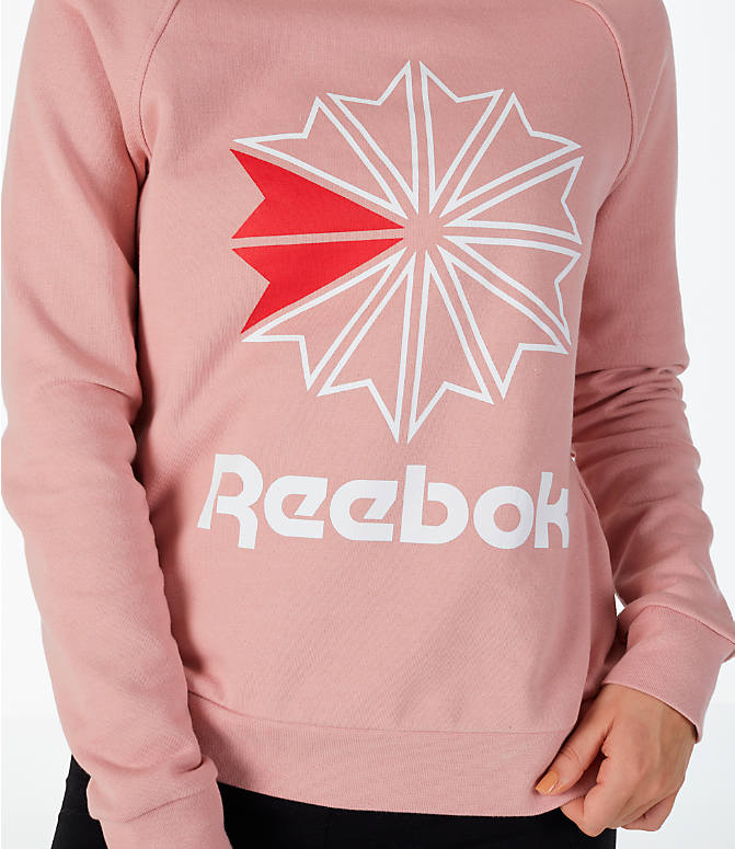Detail 1 view of Women's Reebok Classics Starburst Crew Sweatshirt in Pink/White