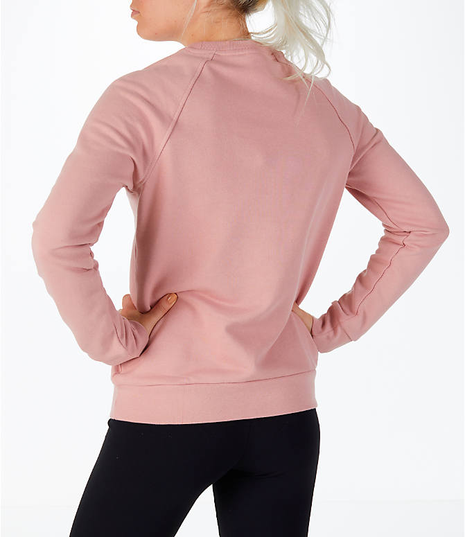 Back Left view of Women's Reebok Classics Starburst Crew Sweatshirt in Pink/White
