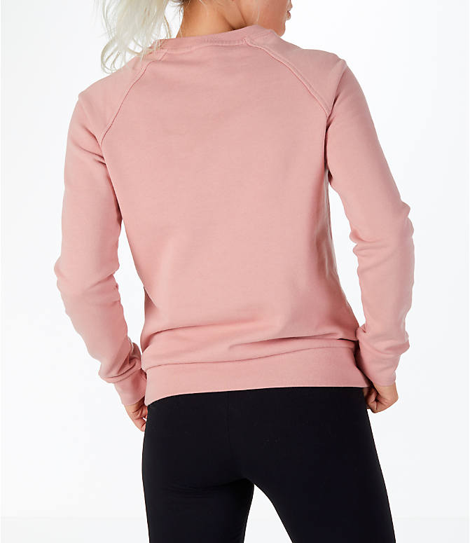Back Right view of Women's Reebok Classics Starburst Crew Sweatshirt in Pink/White