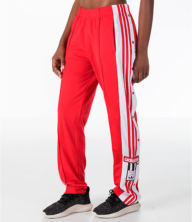 Front Three Quarter view of Women's adidas Originals Breakaway Pants in Red/White