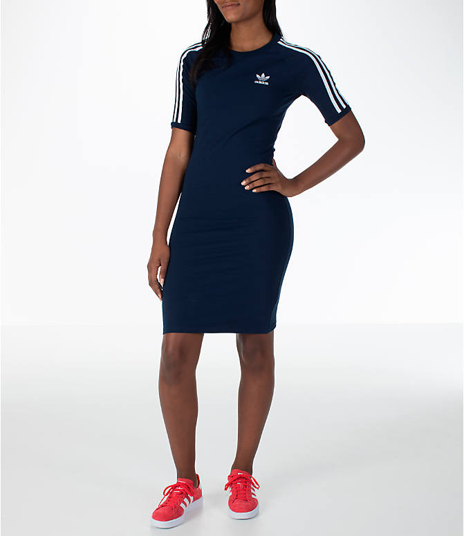 Front view of Women's adidas Originals 3-Stripes Dress in Navy/White