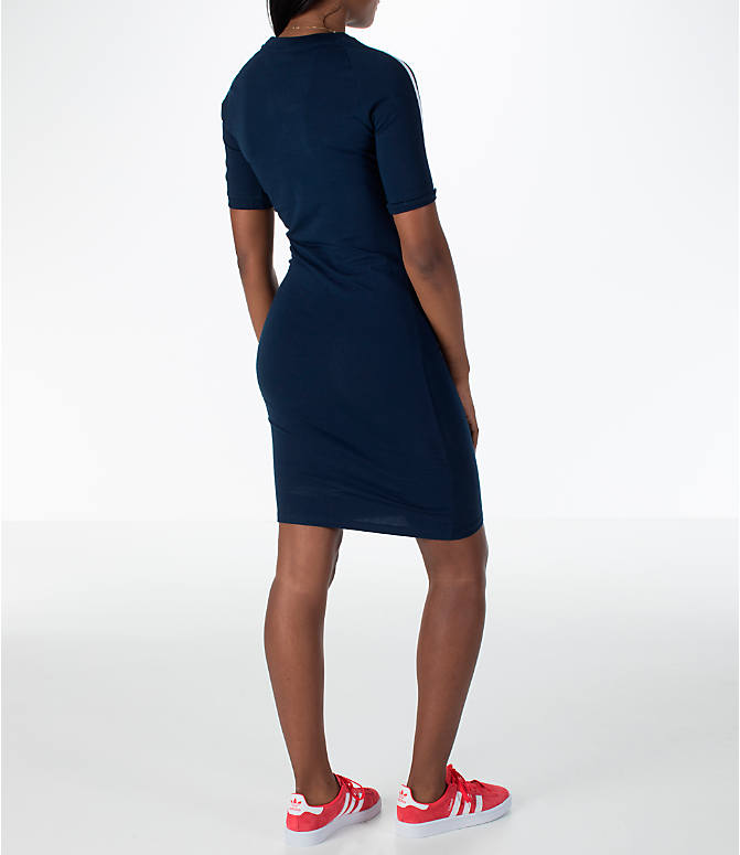 Back Right view of Women's adidas Originals 3-Stripes Dress in Navy/White