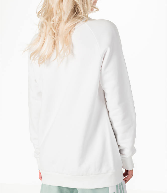 Back Right view of Women's adidas Originals Oversized Trefoil Crew Sweatshirt in White/Green
