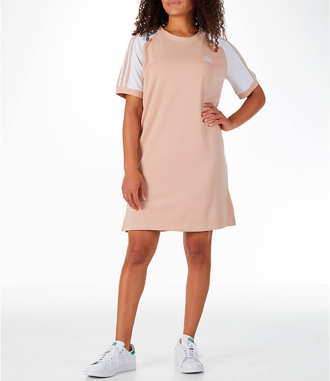 Front view of Women's adidas Originals 3-Stripes Raglan Dress in Ash Pearl