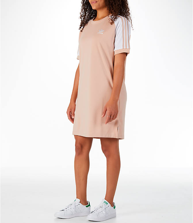 Front Three Quarter view of Women's adidas Originals 3-Stripes Raglan Dress in Ash Pearl
