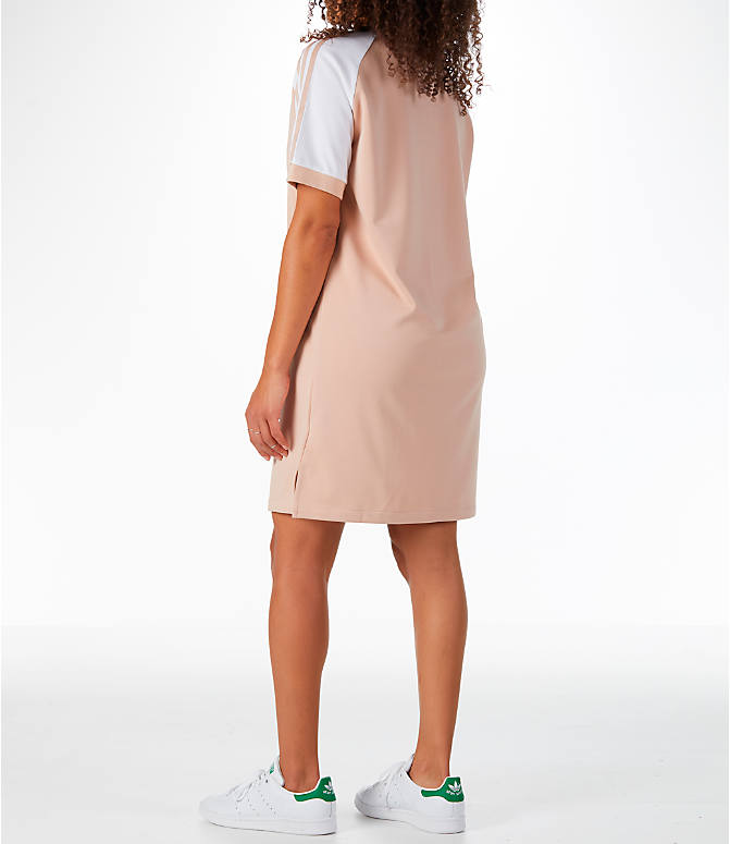 Back Left view of Women's adidas Originals 3-Stripes Raglan Dress in Ash Pearl