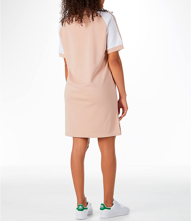 Back Right view of Women's adidas Originals 3-Stripes Raglan Dress in Ash Pearl
