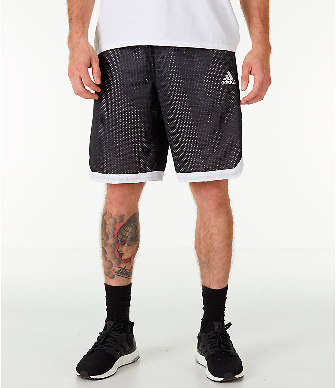 Front view of Men's adidas Sport Mesh Basketball Shorts in Black/White