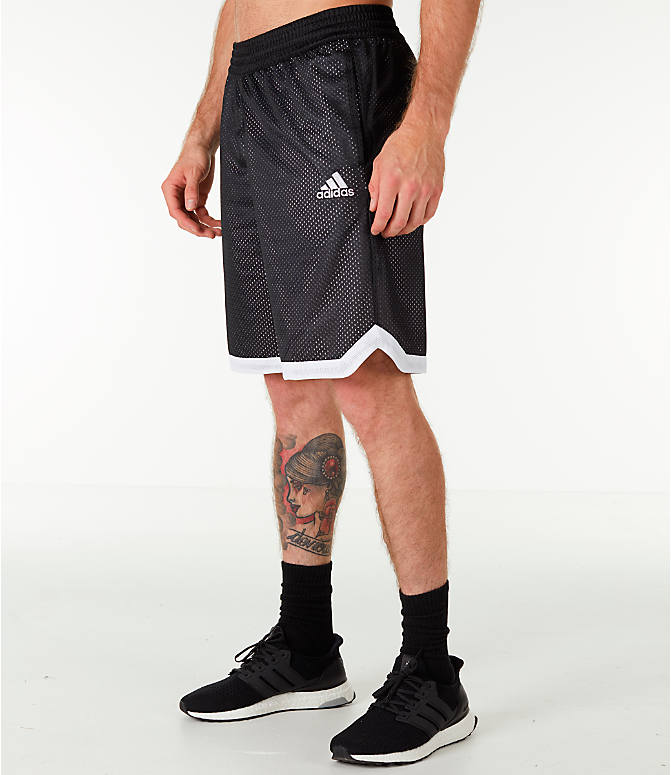 Front Three Quarter view of Men's adidas Sport Mesh Basketball Shorts in Black/White