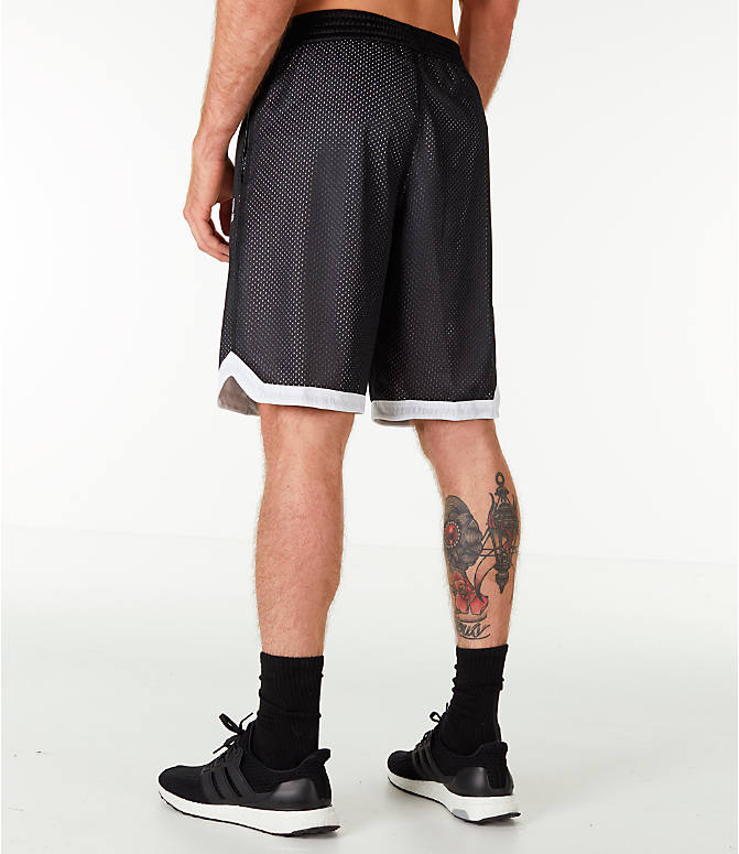 Back Left view of Men's adidas Sport Mesh Basketball Shorts in Black/White