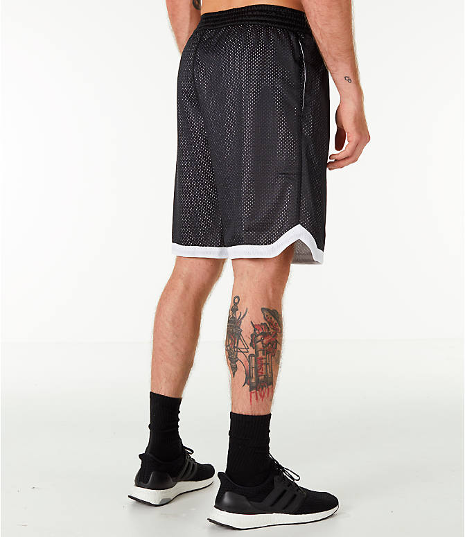 Back Right view of Men's adidas Sport Mesh Basketball Shorts in Black/White