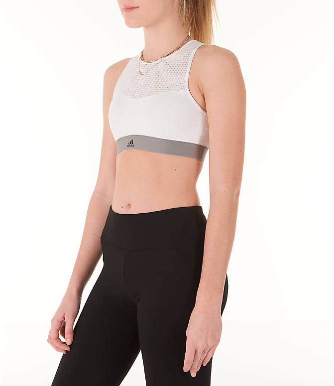 Back Left view of Women's adidas Halter Sports Bra 2.0 in White