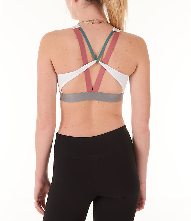 Back Right view of Women's adidas Halter Sports Bra 2.0 in White
