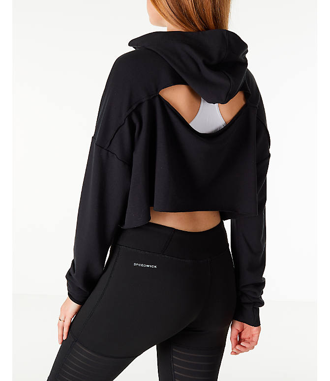 Back Left view of Women's Reebok Crop Hoodie in Black