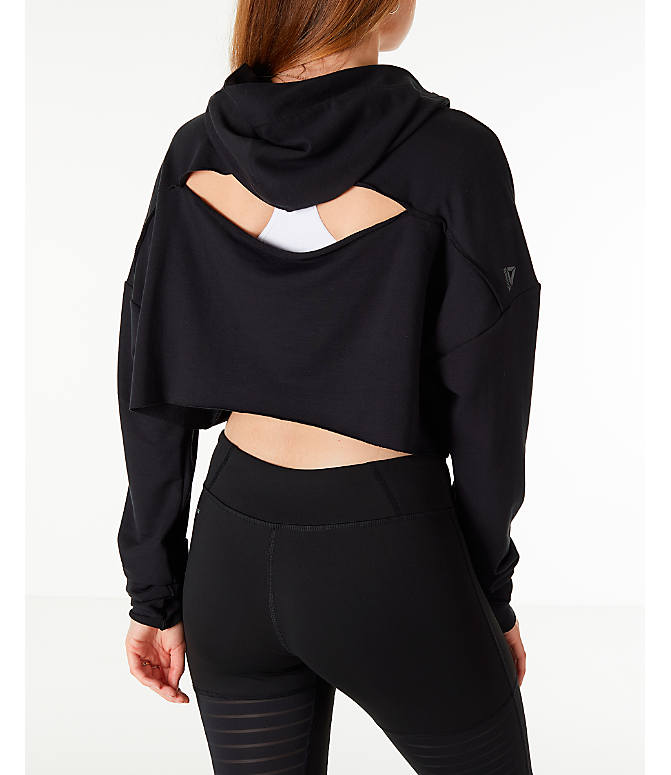 Back Right view of Women's Reebok Crop Hoodie in Black
