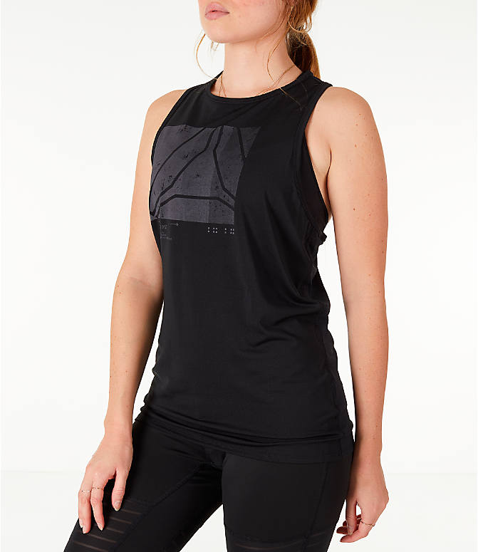 Front Three Quarter view of Women's Reebok Activchill Graphic Training Tank in Black