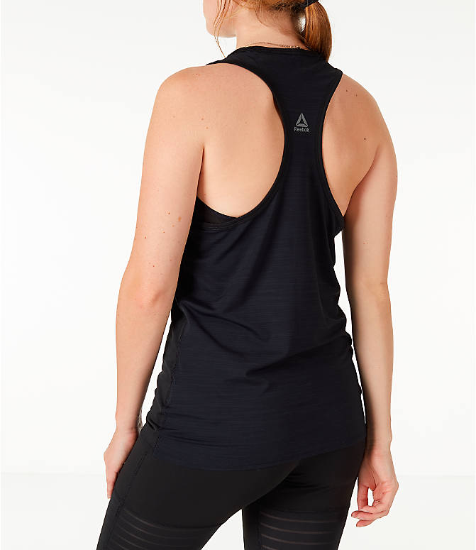 Back Left view of Women's Reebok Activchill Graphic Training Tank in Black