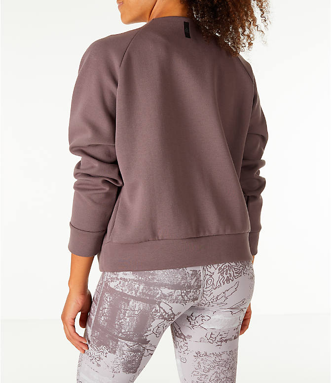 Back Left view of Women's Reebok Training Supply Full-Zip Cover Up Jacket in Grey
