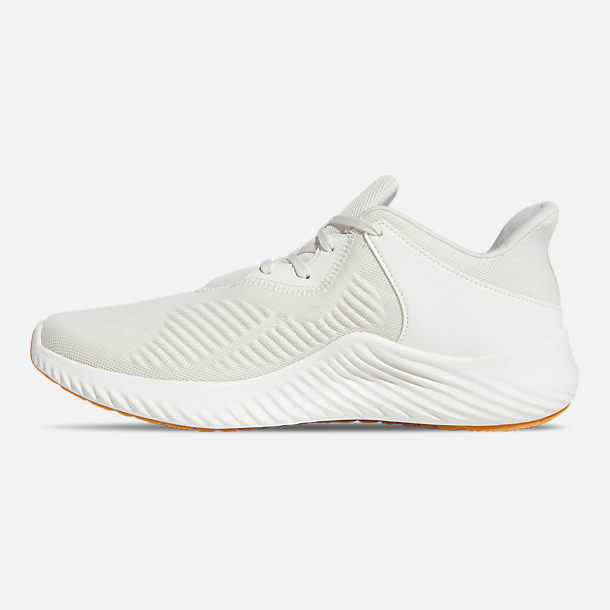 Left view of Men's adidas AlphaBounce RC 2 Running Shoes in Off White / Silver Metallic / Running White