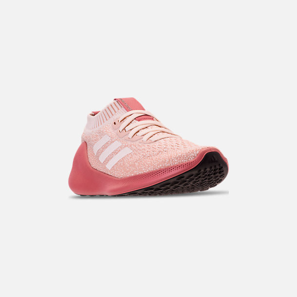 Three Quarter view of Women's adidas PureBounce+ Running Shoes in Cloud White/Trace Pink