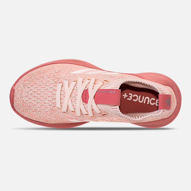Top view of Women's adidas PureBounce+ Running Shoes in Cloud White/Trace Pink