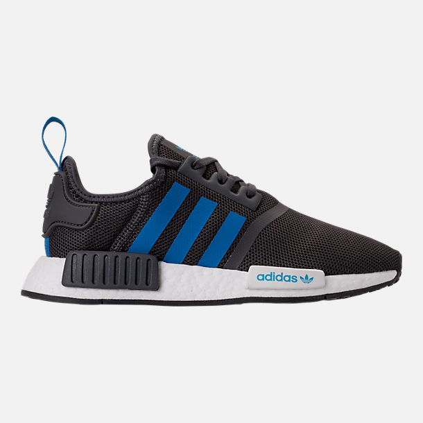 Right view of Boys' Grade School adidas NMD Runner Casual Shoes in Grey Five/Bright Blue
