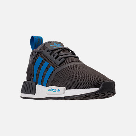 Three Quarter view of Boys' Grade School adidas NMD Runner Casual Shoes in Grey Five/Bright Blue