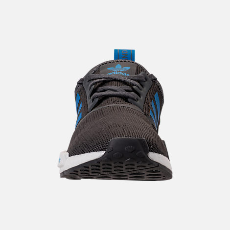 Front view of Boys' Grade School adidas NMD Runner Casual Shoes in Grey Five/Bright Blue