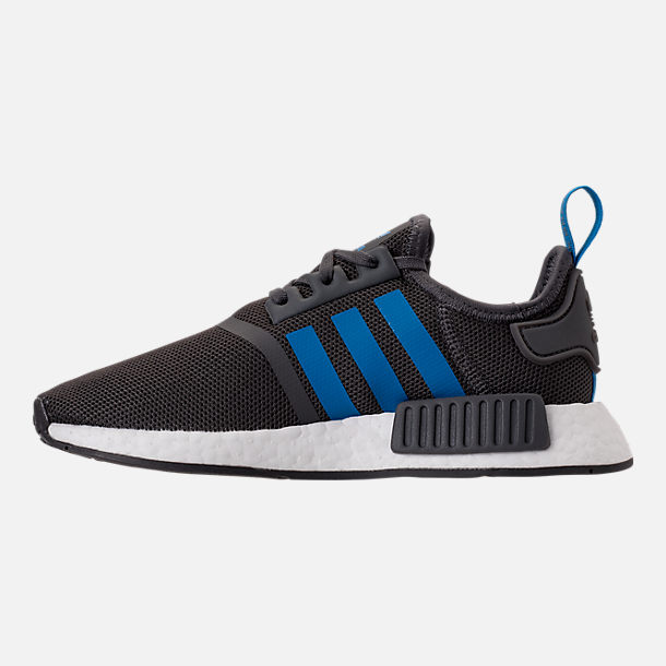 Left view of Boys' Grade School adidas NMD Runner Casual Shoes in Grey Five/Bright Blue