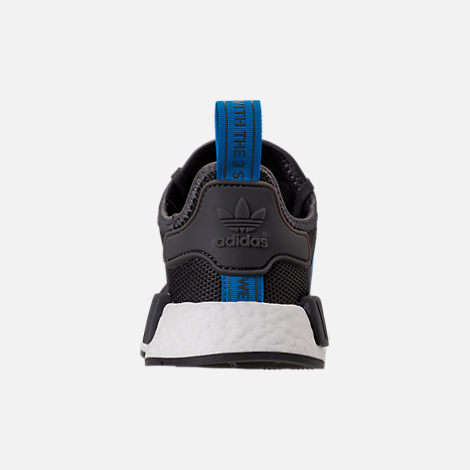 Back view of Boys' Grade School adidas NMD Runner Casual Shoes in Grey Five/Bright Blue