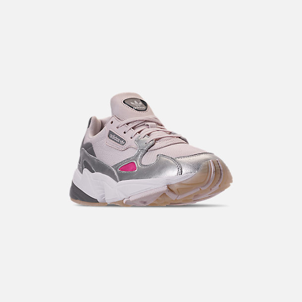 Three Quarter view of Women's adidas Originals Falcon Suede Casual Shoes in Orchid Tint/Silver