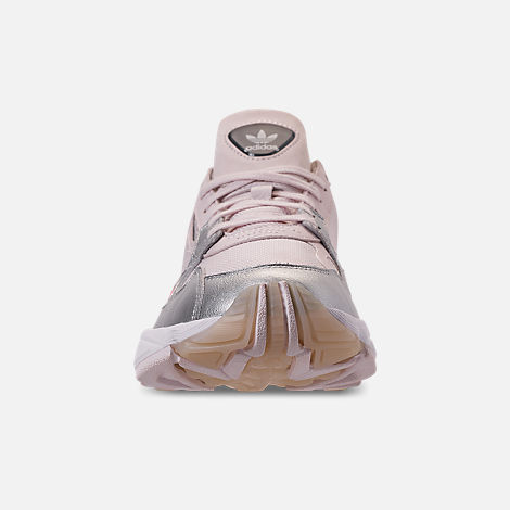 Front view of Women's adidas Originals Falcon Suede Casual Shoes in Orchid Tint/Silver