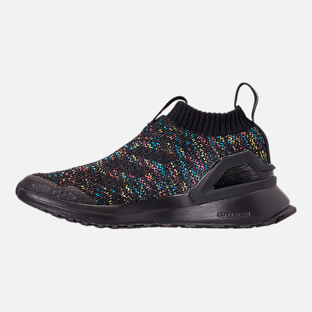 Left view of Little Kids' adidas RapidaRun Laceless Knit Running Shoes in Core Black/Shock Cyan/Active Red
