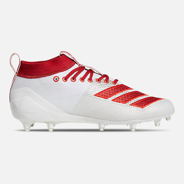 Right view of Men's adidas adiZero Burner Football Cleats in Cloud White/Power Red/Active Red