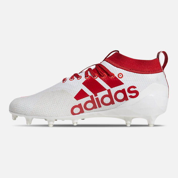 Left view of Men's adidas adiZero Burner Football Cleats in Cloud White/Power Red/Active Red