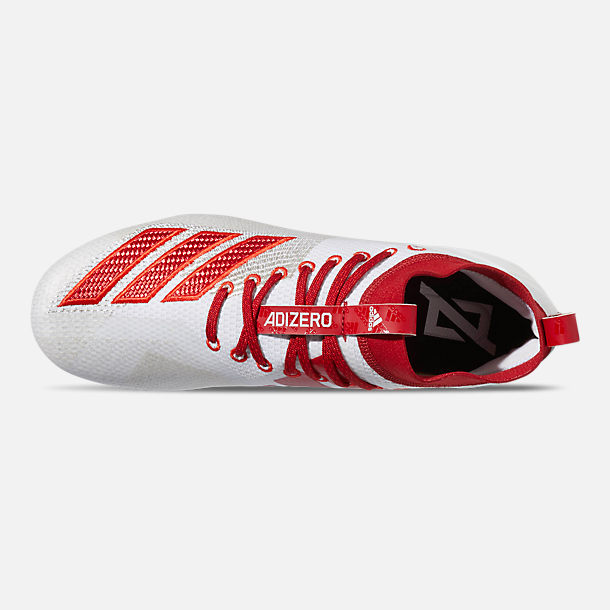 Top view of Men's adidas adiZero Burner Football Cleats in Cloud White/Power Red/Active Red
