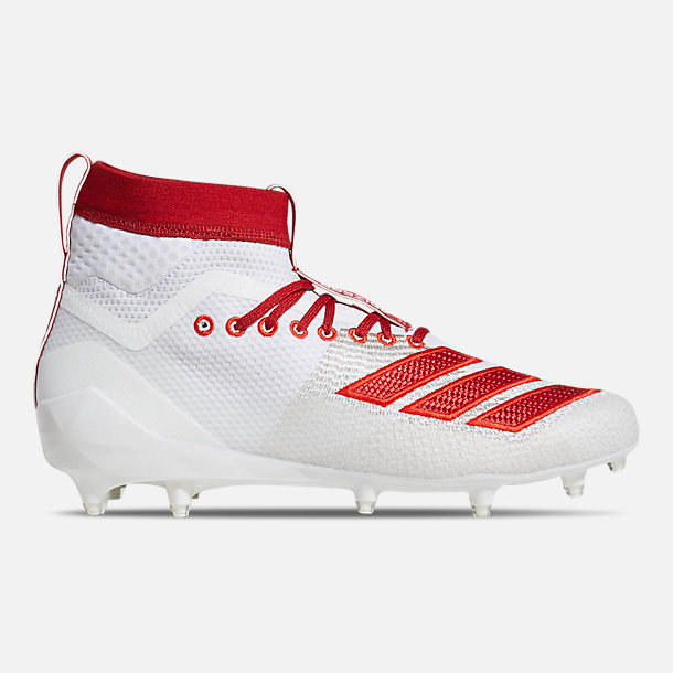Right view of Men's adidas adizero Burner SK Football Cleats in Cloud White/Power Red/Active Red