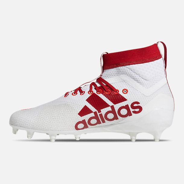 Left view of Men's adidas adizero Burner SK Football Cleats in Cloud White/Power Red/Active Red