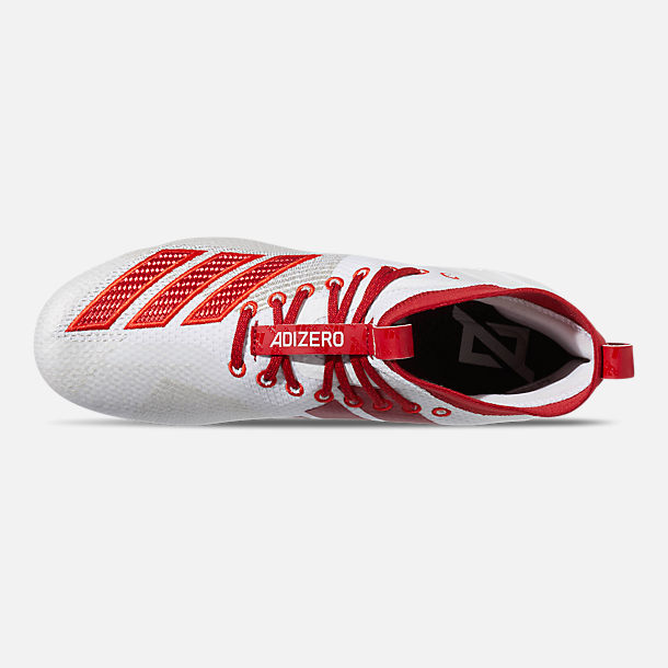 Top view of Men's adidas adizero Burner SK Football Cleats in Cloud White/Power Red/Active Red