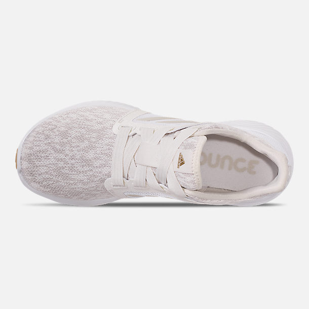 Top view of Women's adidas Edge Lux Running Shoes in Raw White/Cloud White/Gold Metallic