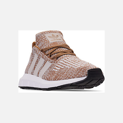 Three Quarter view of Boys' Little Kids' adidas Swift Run Casual Shoes in Cardboard/Clear Brown/White