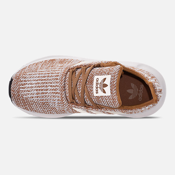Top view of Boys' Little Kids' adidas Swift Run Casual Shoes in Cardboard/Clear Brown/White