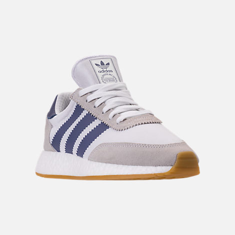Three Quarter view of Women's adidas I-5923 Runner Casual Shoes in White/Raw Indigo/Gum
