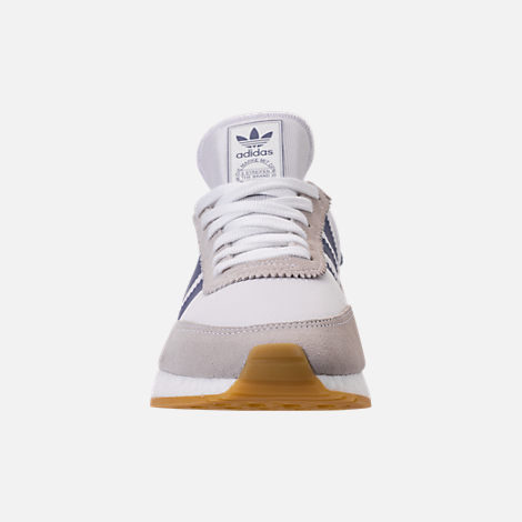 Front view of Women's adidas I-5923 Runner Casual Shoes in White/Raw Indigo/Gum