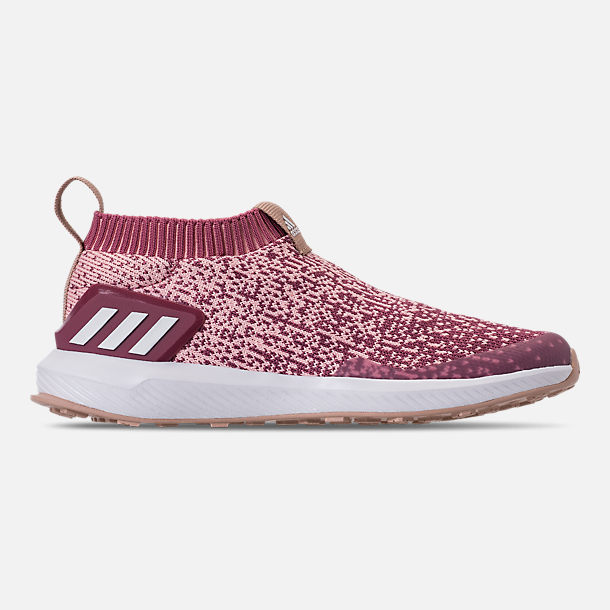 Right view of Girls' Little Kids' adidas RapidaRun Laceless Running Shoes in Trace Maroon/Clear Orange/Ash