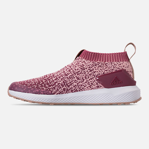 Left view of Girls' Little Kids' adidas RapidaRun Laceless Running Shoes in Trace Maroon/Clear Orange/Ash