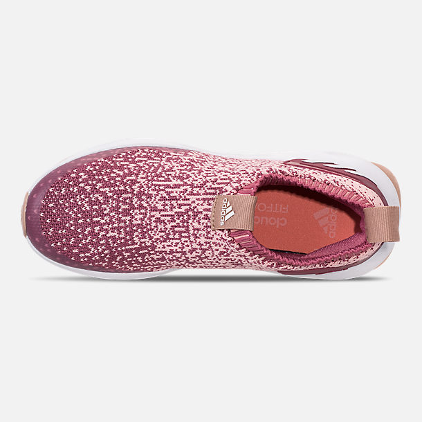 Top view of Girls' Little Kids' adidas RapidaRun Laceless Running Shoes in Trace Maroon/Clear Orange/Ash